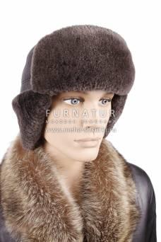 Ушанка-танкист из овчины серой на коричневой коже