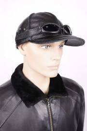 Бейсболка из черной кожи с очками БМ-1