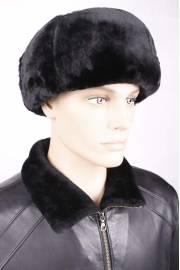 Шапка из черной овчины с черной кожей ОМ-18