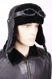 Ушанка из черной овчины с черной кожей и очками OMO L
