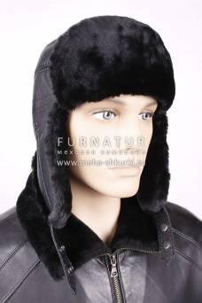 Ушанка из черной овчины с черной кожей ОМ-7