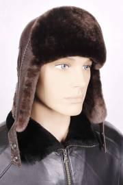 Ушанка из коричневой овчины с коричневой кожей ОМ/ТК/1