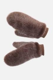 Варежки односторонние из норки сноутоп коричневый