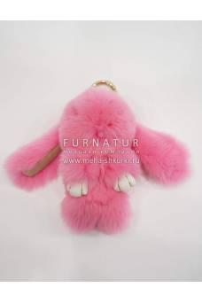 """Брелок меховой """"Кролик"""" розовый"""