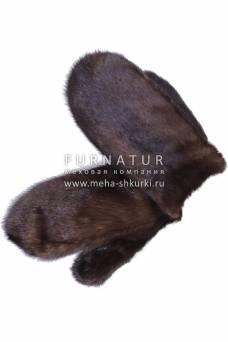 Варежки из норки орех
