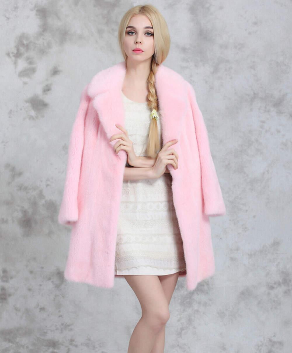 пальто из норки розовой